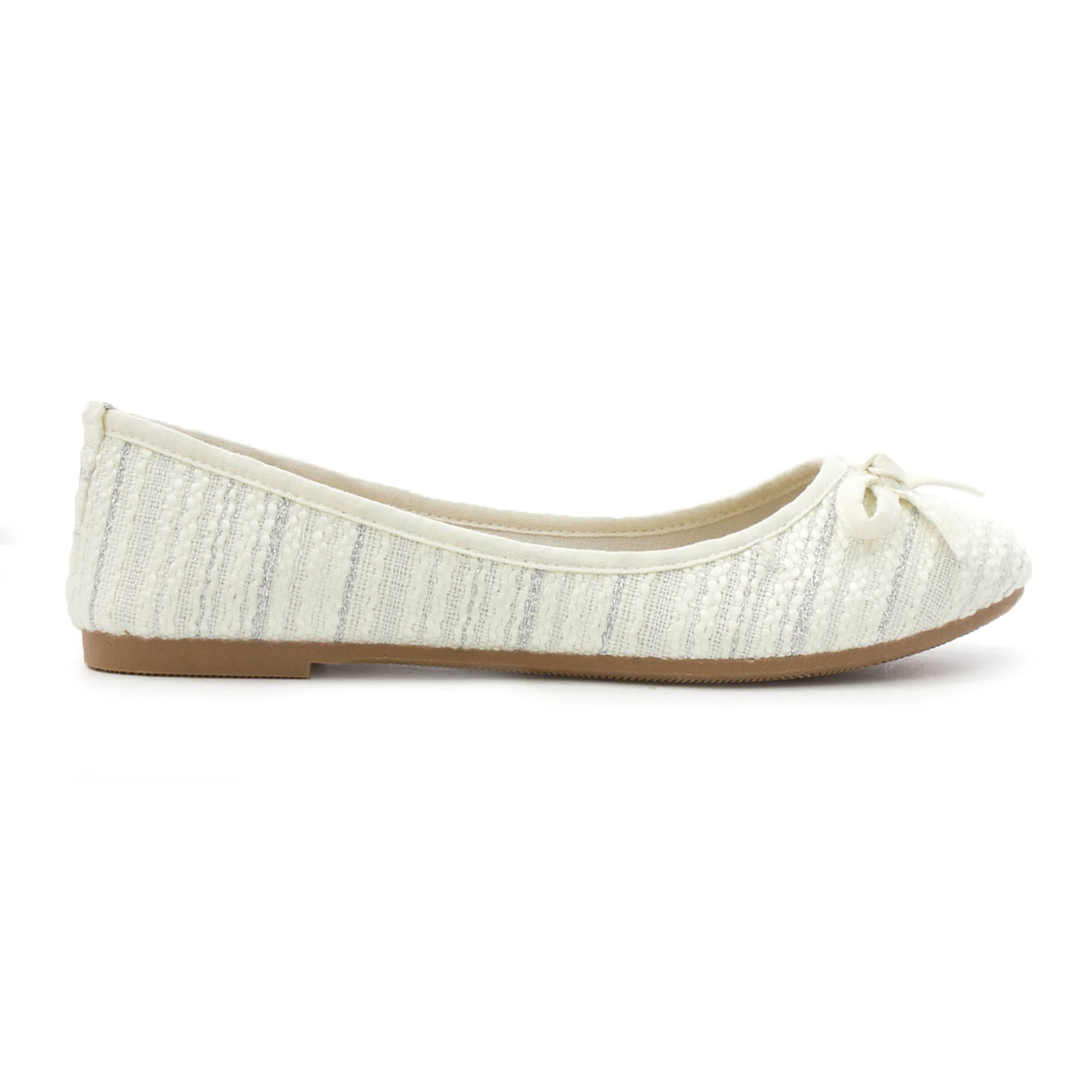 8e68427a7a870 Lilley Womens White Bow Knitted Effect Ballerina | SHOE ZONE | SS18 ...
