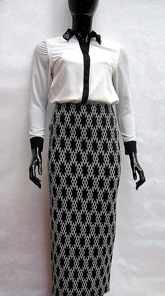 831070a0cc0 MARKS   SPENCER BLACK IVORY MOSAIC STRETCH JERSEY MAXI PENCIL SKIRT Sizes  8-20