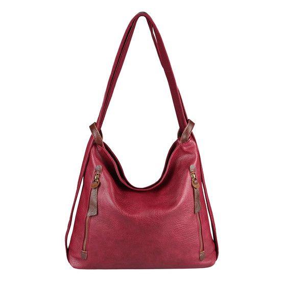 OBC Damen Tasche Rucksack 2 in 1 Umhängetasche Schultertasche Daypack Leder Optik Rucksacktasche Shopper Backpack Freizeitrucksack Bordo #springoutfits