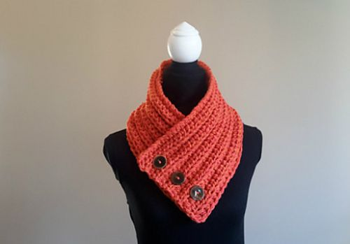 Chunky 3 Button Crochet Cowl W Light Ribbing Effect Double Strand Using Size P Hook 3 Button Crochet Cowl Free Pattern Crochet Cowl Pattern Crochet Buttons