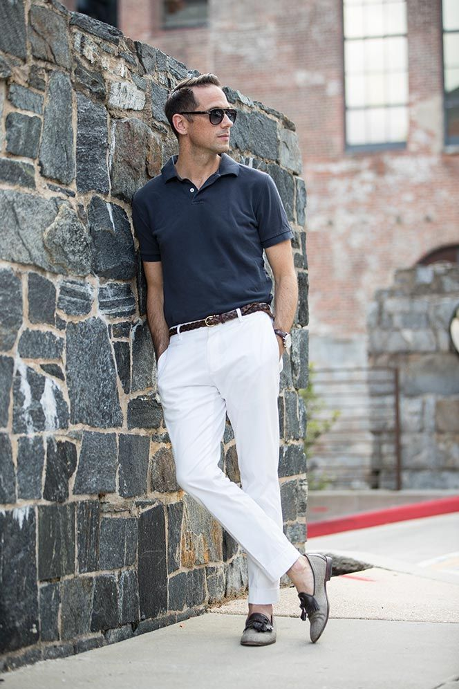 A simple but stylish summer look featuring a polo shirt and white cotton  chinos\u2026