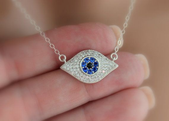 Sterling Silver Evil Eye Necklace Women by divinitycollection
