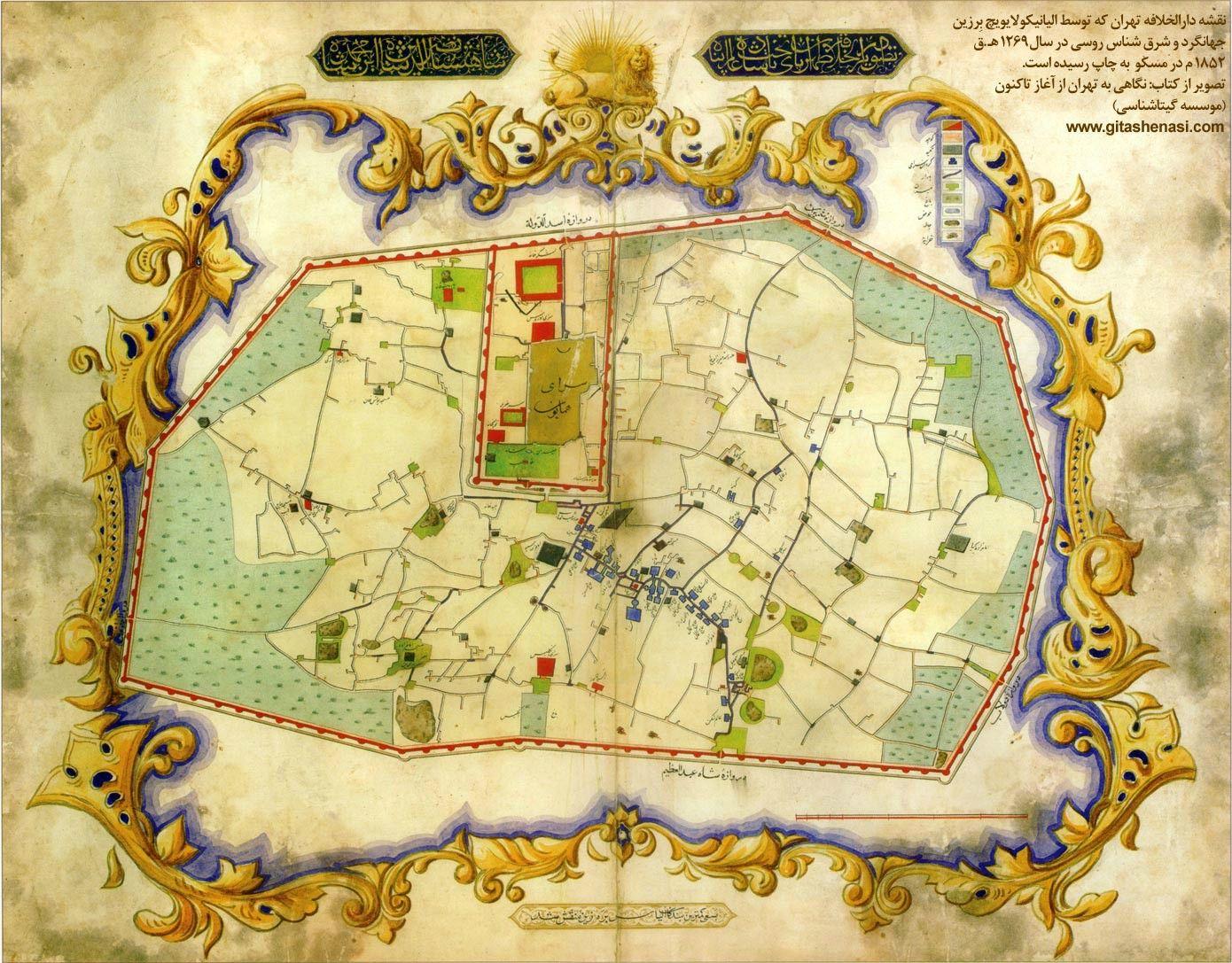 Tehran 1852 the island of treasured maps pinterest tehran tehran iran gumiabroncs Choice Image