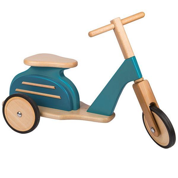 Porteur scooter rétro bleu Moulin Roty - Vintage blue scooter www.lepingouindelespace.com