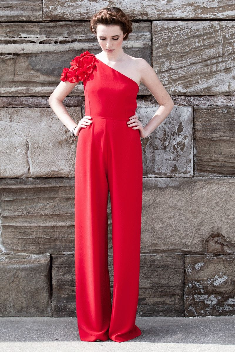 mono rojo de fiesta con pernera ancha para boda evento fiesta coctel  bautizo comunion graduacion de