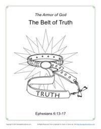 Belt of Truth Coloring Page - Armor of God for Kids | Bible/Prayer ...