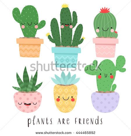 set of six illustrations of cute cartoon cactus and succulents with