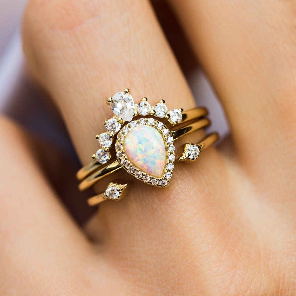 Pear Stacking Ring Set In Gold With White Opal In 2020 Engagement Rings Opal Opal Wedding Rings 14k White Gold Engagement Rings