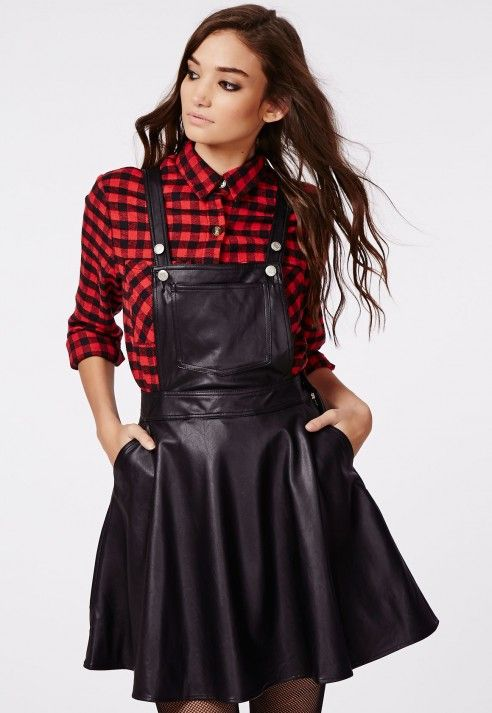 a65bfda6fe7 Octavia Faux Leather Dungaree Dress Black - Dresses - Missguided