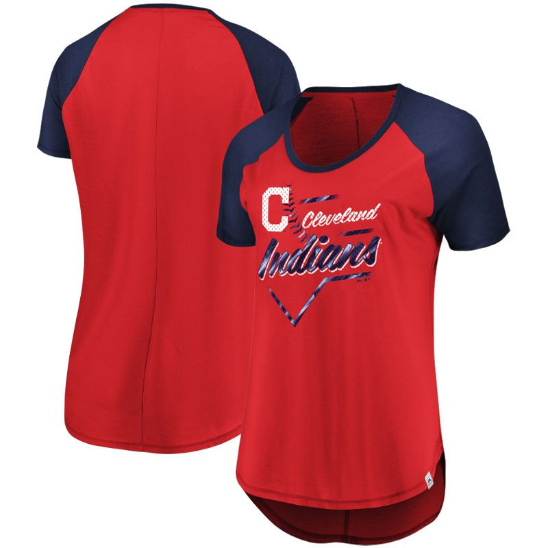 340eeebcd33c Cleveland Indians Majestic Women's Game Shake-Up Raglan T-Shirt – Red