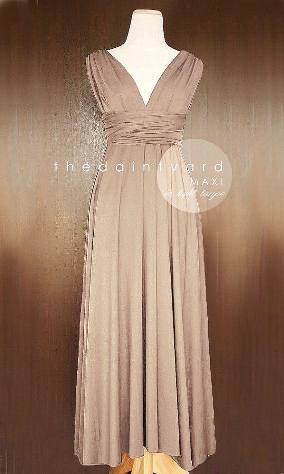 f22f9a5aca1 MAXI Light Taupe Bridesmaid Convertible Dress Infinity Multiway Wrap Dress  Wedding Dress Neutral Full Length