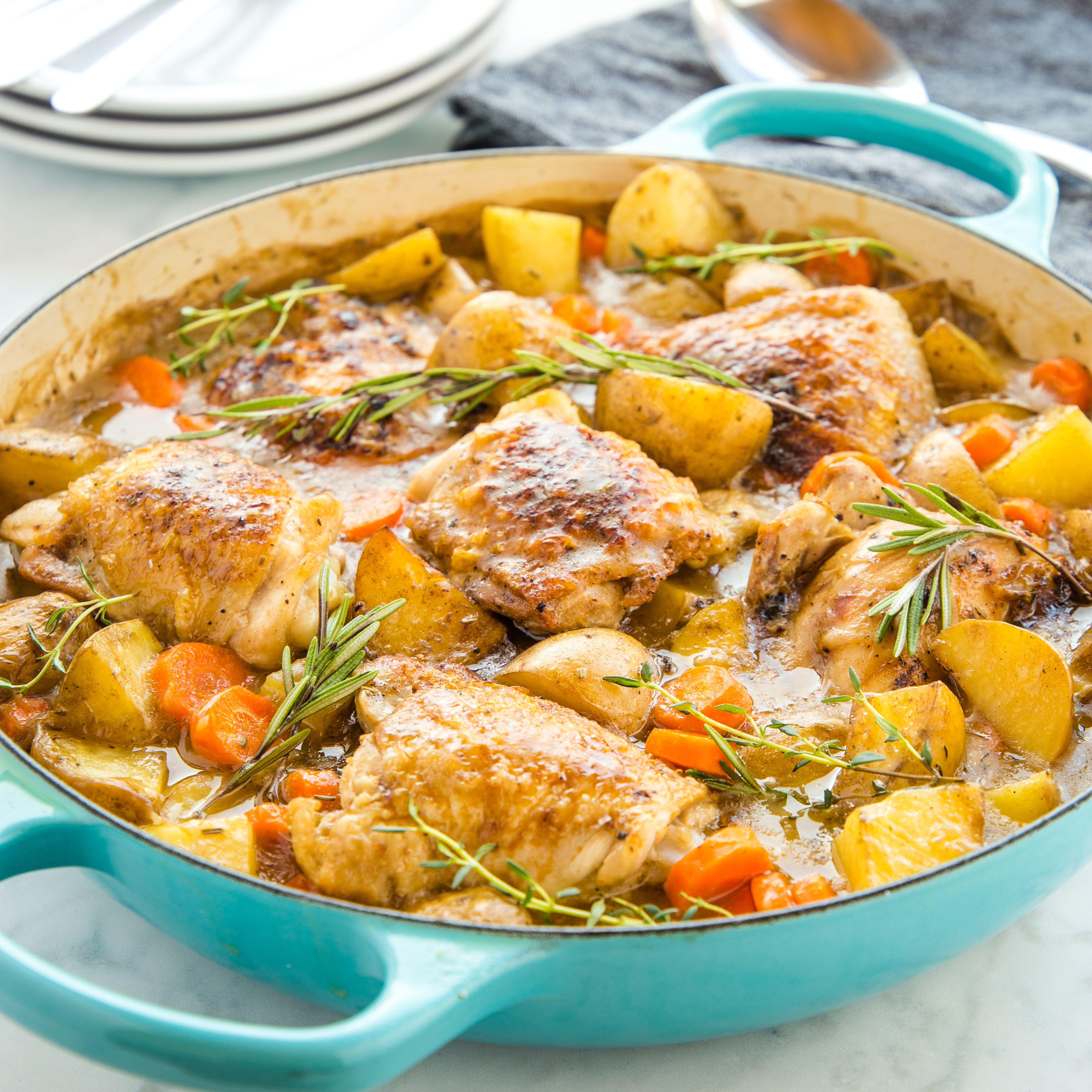 Easy One Pot Roasted Chicken Dinner Recipe Chicken Dinner Recipes Chicken Dinner Cooking Classy Recipes