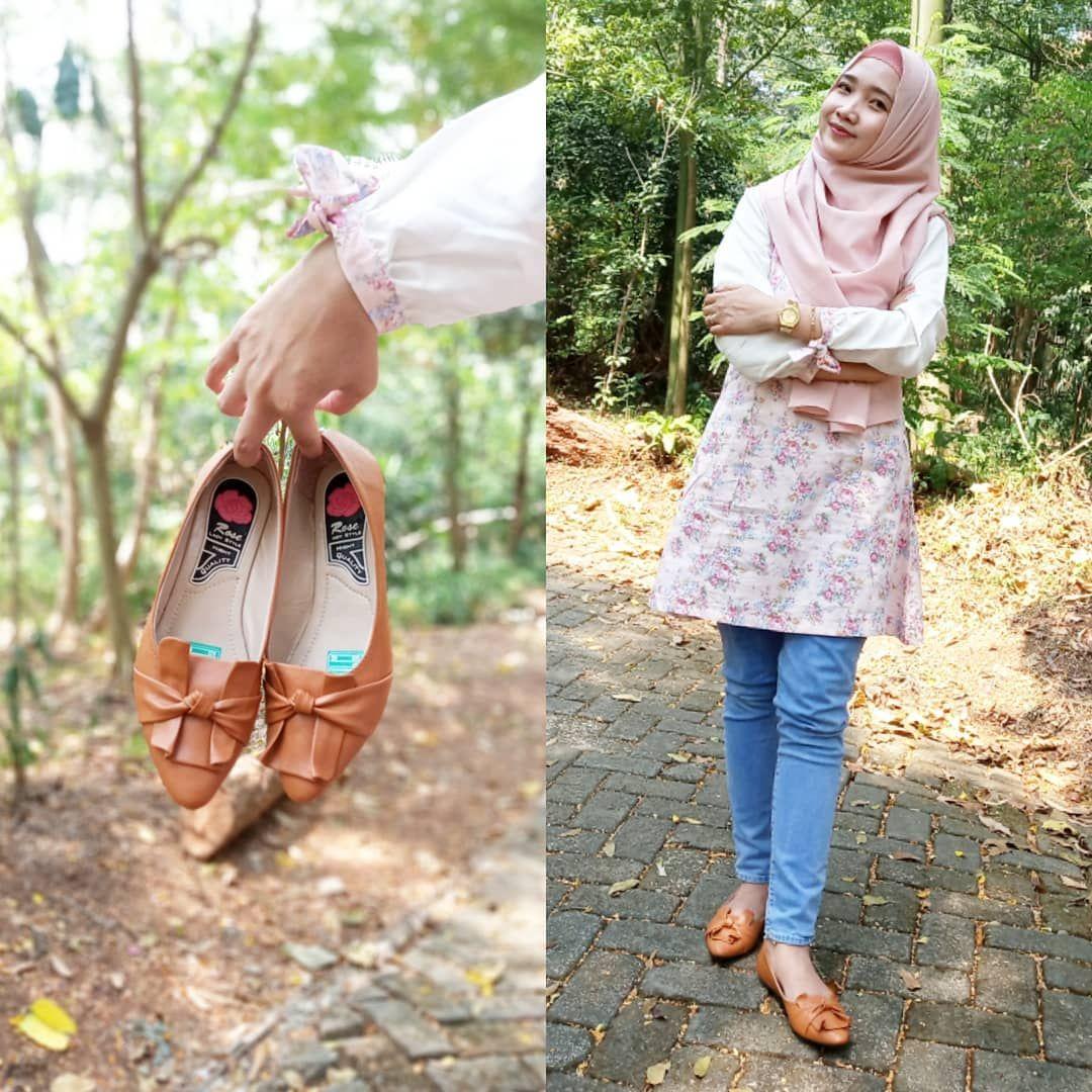Flat Shoes Wanita Kulit Sintetis Halus Warna Tan Sepatu Cantik