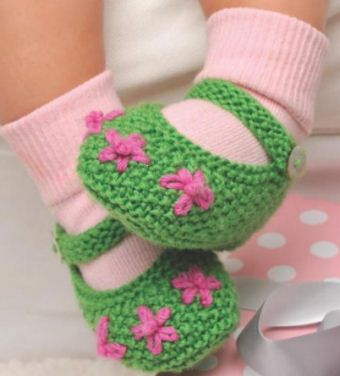 Baby Girl Knit Mary Janes In Kelly Green And Pink Free Baby Booties