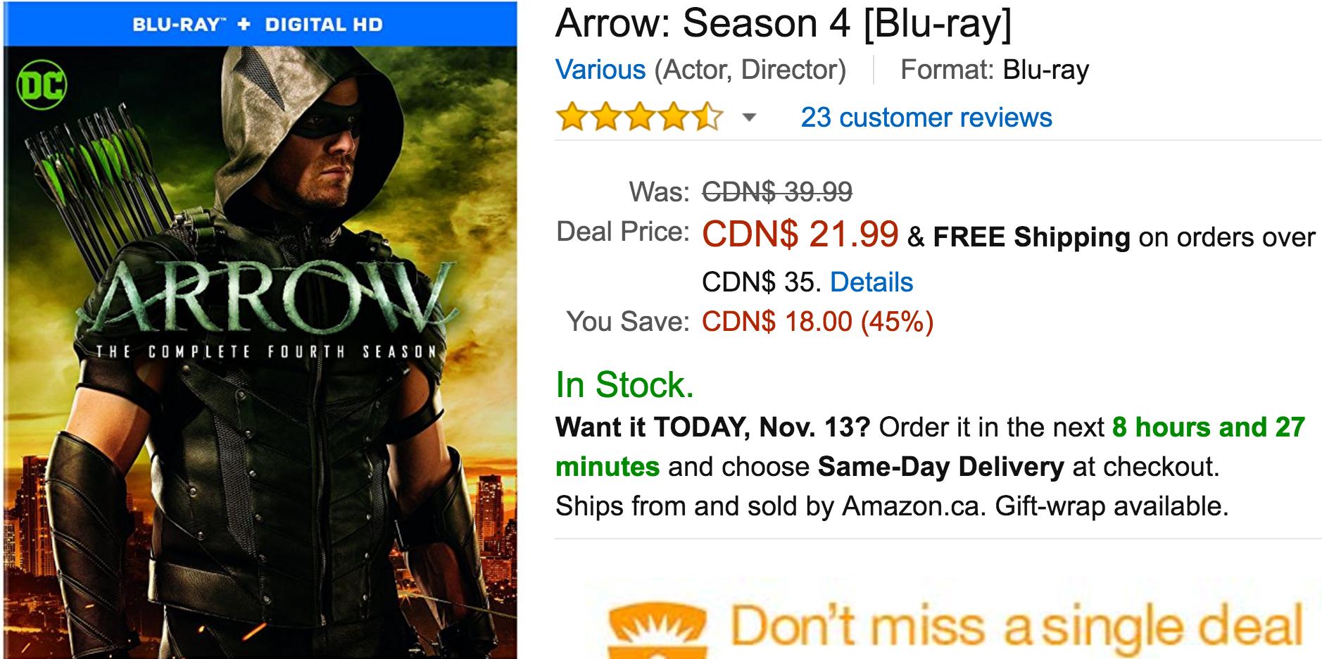 Amazon Canada Black Friday Todays Deals: Save 45% On Arrow: Season 4 42% on Miracle-Gro AeroGarden Ultra Pod K... http://www.lavahotdeals.com/ca/cheap/amazon-canada-black-friday-todays-deals-save-45/137679