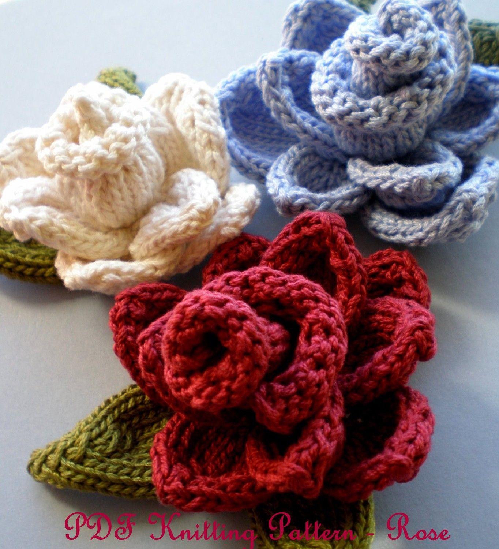 PDF Knit Flower Pattern - Rose Knit Flower | Knitted flowers, Knit ...