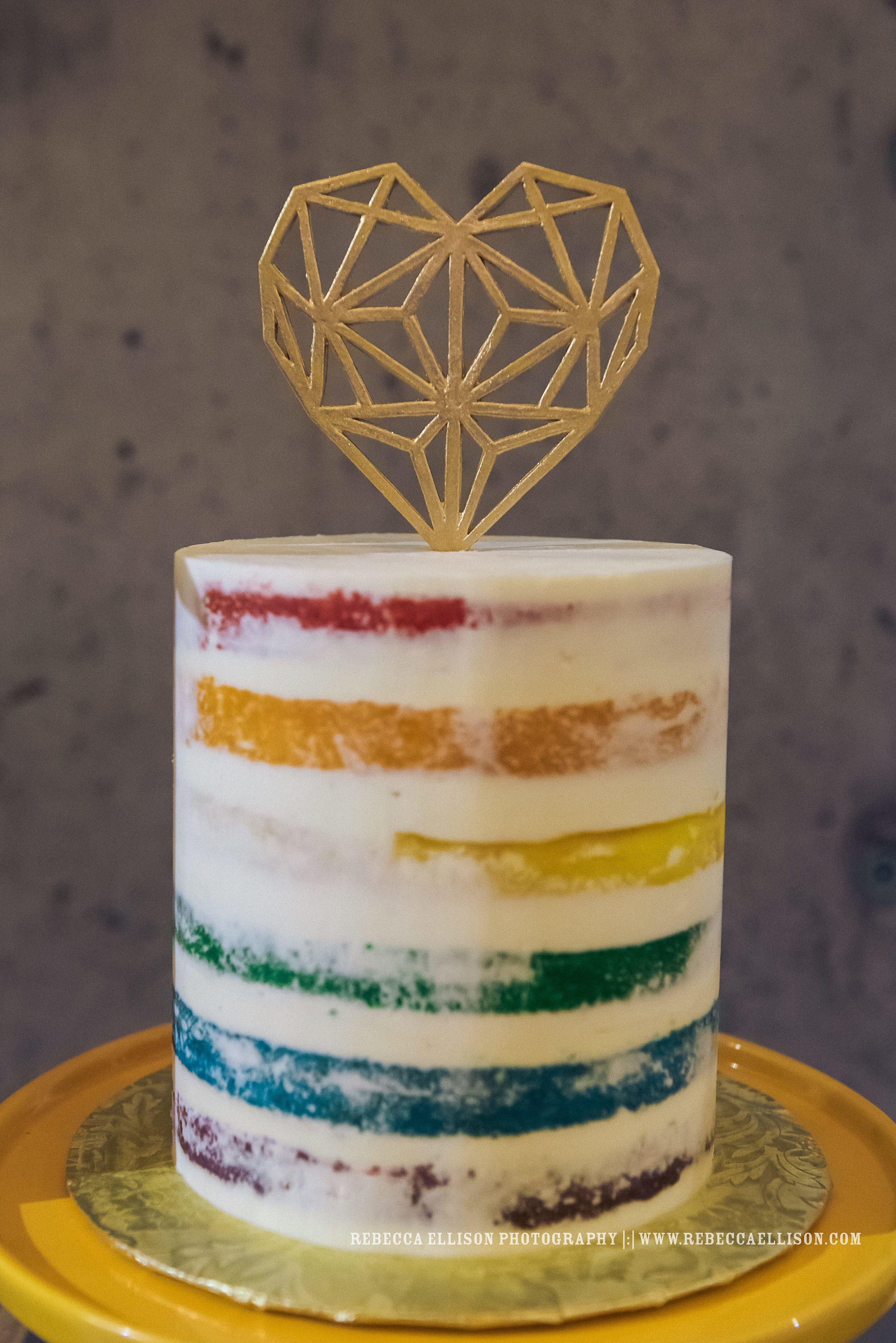 Wedding Cakes Semi Naked Rainbow Cake Geometric Heart Topper