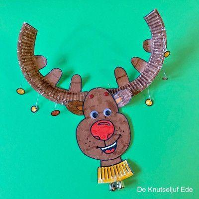 Rudolf het rendier knutselen van papieren bordje #rendierknutselen