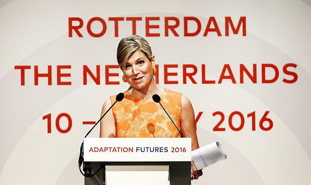 Koningin Máxima spreekt klimaatconferentie toe (fotoserie) -  De koningin hield woensdag in het World Trade Center in Rotterdam een toespraak tijdens de internationale klimaatconferentie Adaptions Futures 2016. beeld ANP
