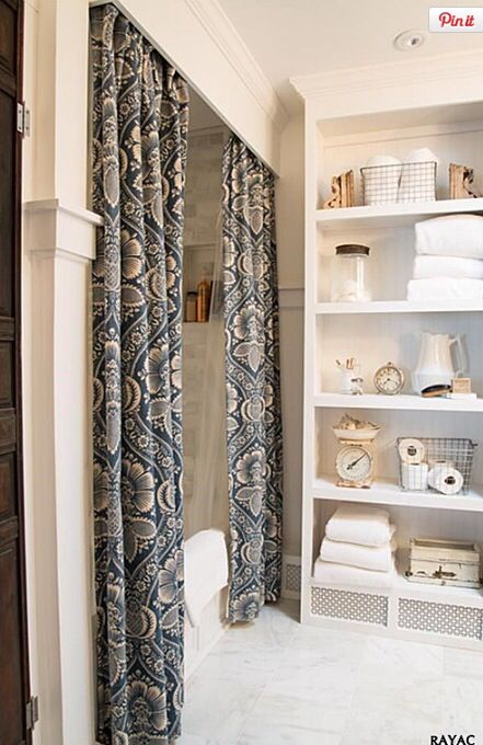 tim at ceiling and long curtains to hide weird shower | Remodeling ...