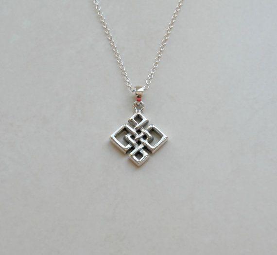 Celtic Knot Necklace Sterling Silver Love Knot Quaternary Celtic