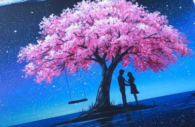 Couple in Love under Cherry Blossom Tree painting