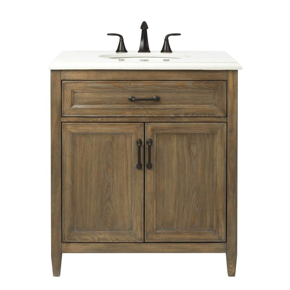 Home Decorators Collection Walden 31 In W Vanity In Driftwood Grey With Engineered Stone Vanity Top In Crystal White With White Sink Wlggvt3122 Wood Bathroom Vanity Engineered Stone White Sink