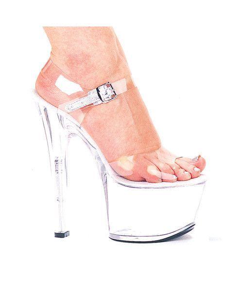 "Ellie Shoes Flirt 7"" Pump 3"" Platform Clear Eight"