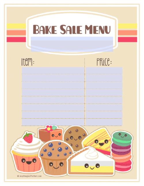bake sale menu template