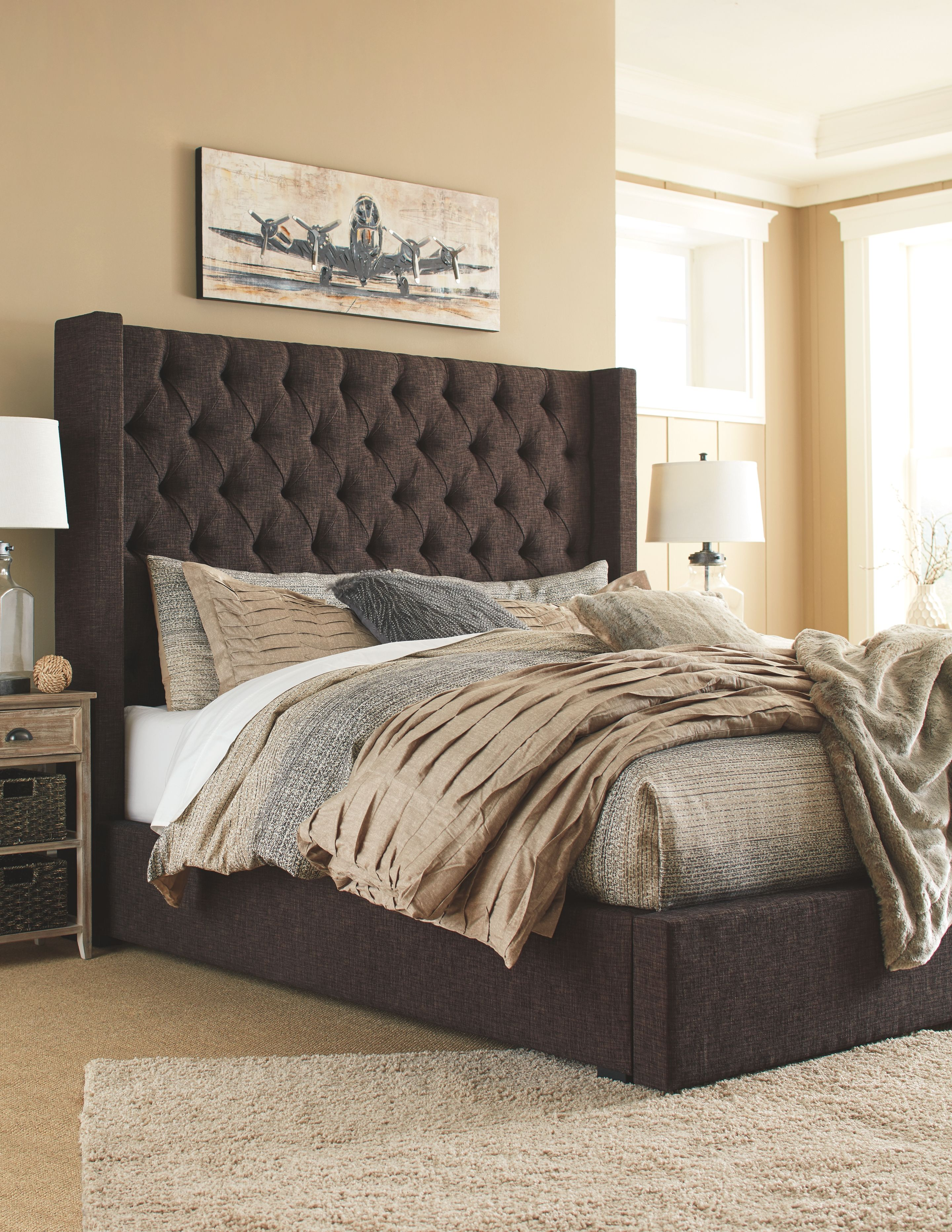 sale retailer 665e8 645e1 Norrister King Upholstered Panel Bed, Dark Brown | Products ...