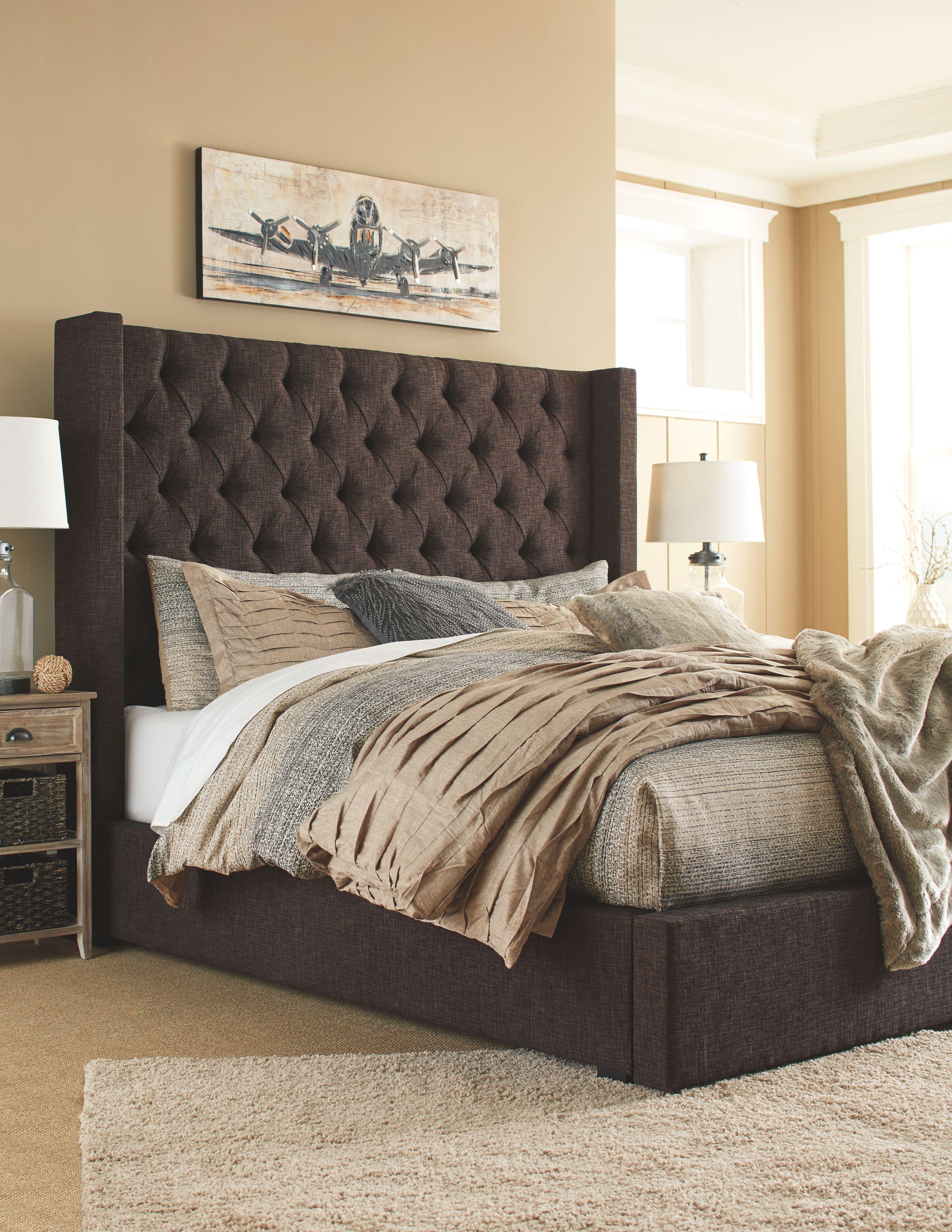 Norrister King Upholstered Bed Ashley Furniture Homestore King Upholstered Bed Upholstered Beds Brown Headboard Bedroom