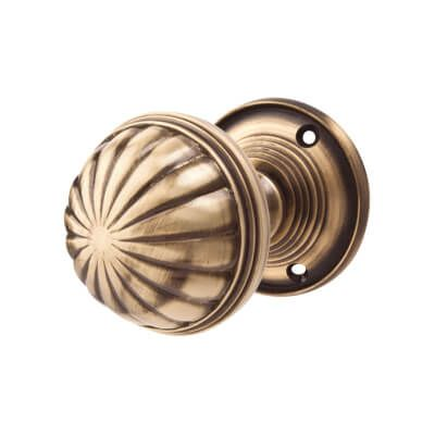 Jedo Fluted Mortice Door Knob - Antique Brass at IronmongeryDirect ...