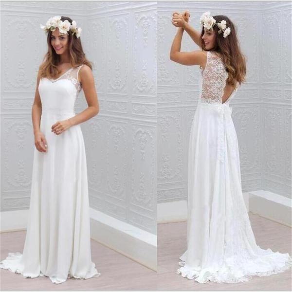 Great  Chiffon Lace Simple Beach Cheap Open Back Beautiful Wedding Dresses WD