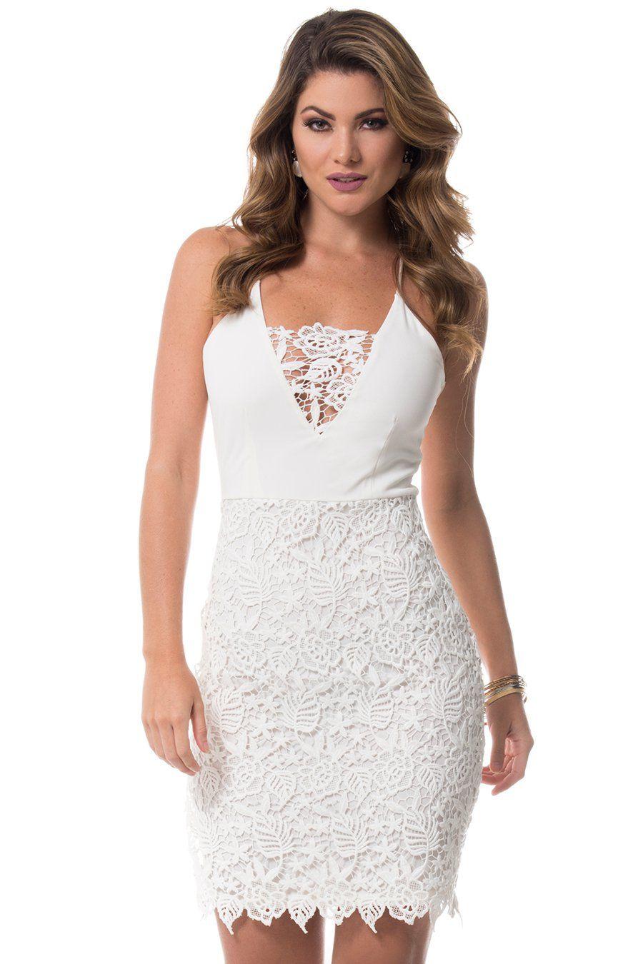 101756087 Vestido Constanza con randa blanco
