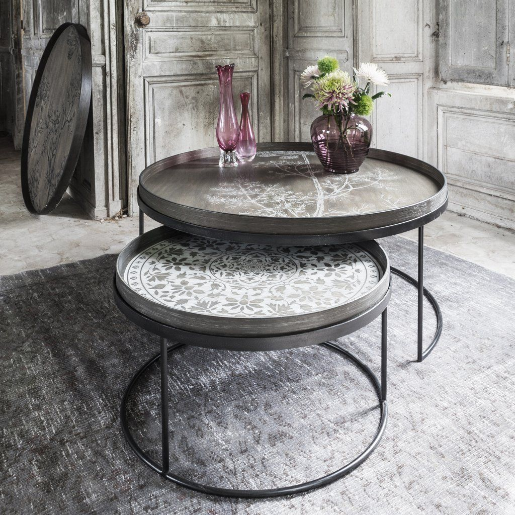 Notre Monde Round Tray Table Set Of Two Low Xl Coffee Table Coffee Table Setting Tray Table [ 1024 x 1024 Pixel ]
