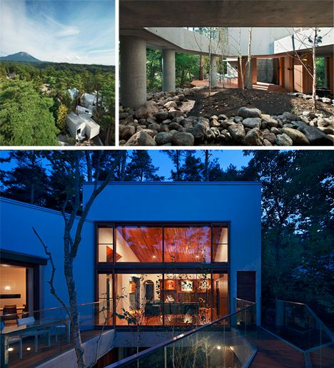 a japanese multi level forest home built within the canopy affording many benefits to