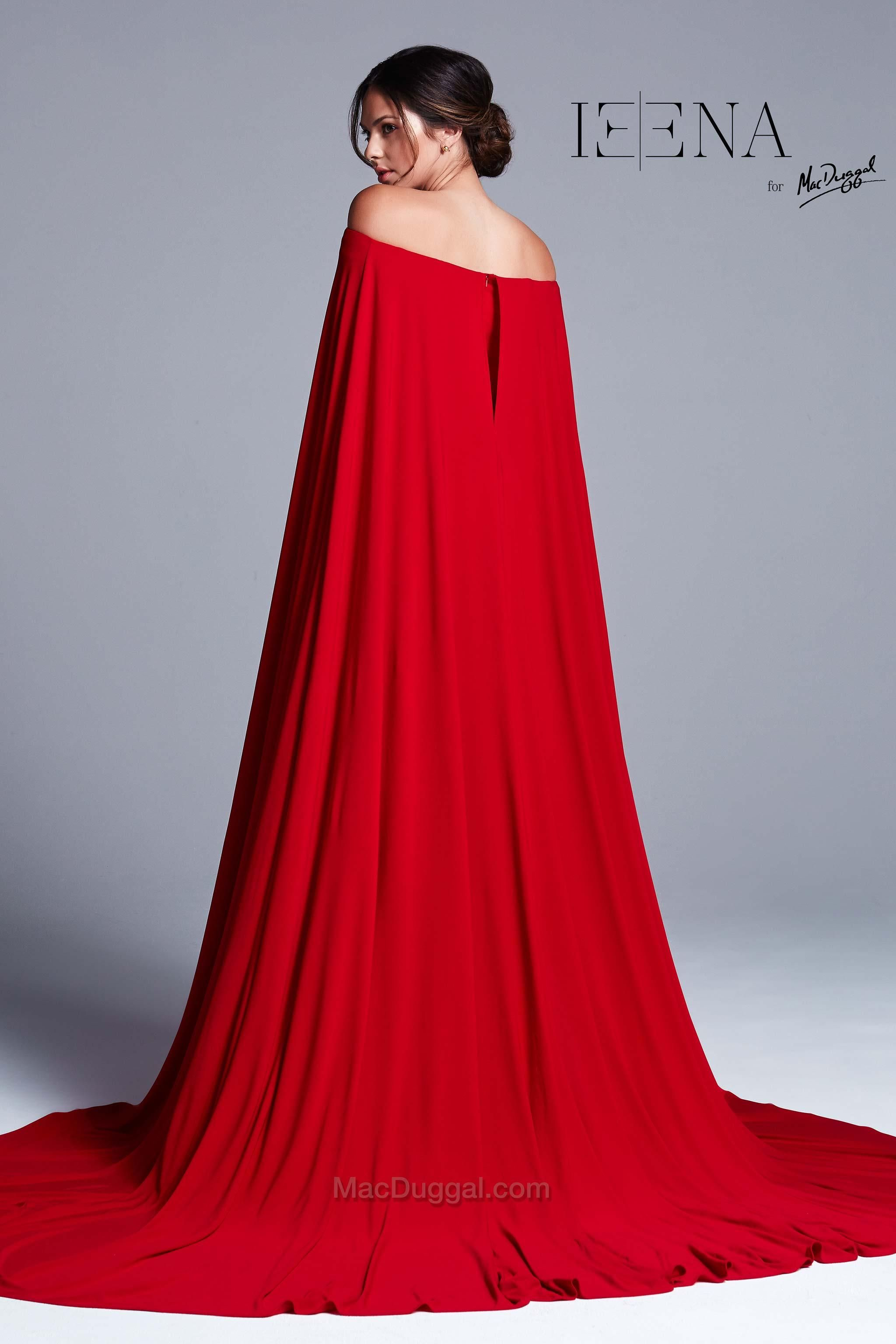 Red Shoulder Cape Evening Gown - back | Bridesmaids | Pinterest ...