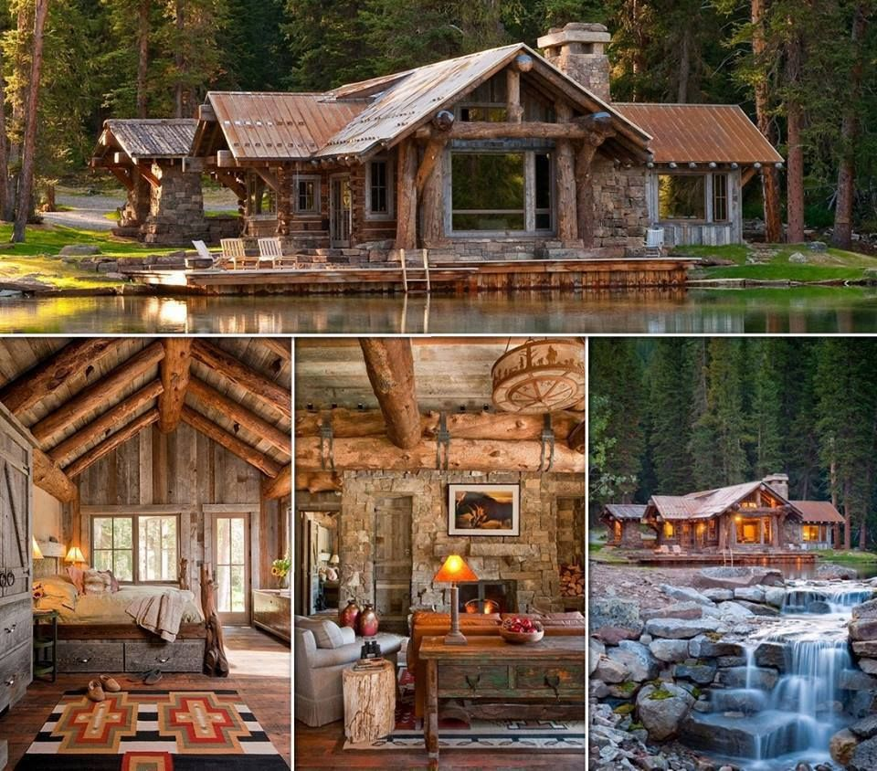 Large rustic cabin lake house home make mine rustic for Big log cabin homes