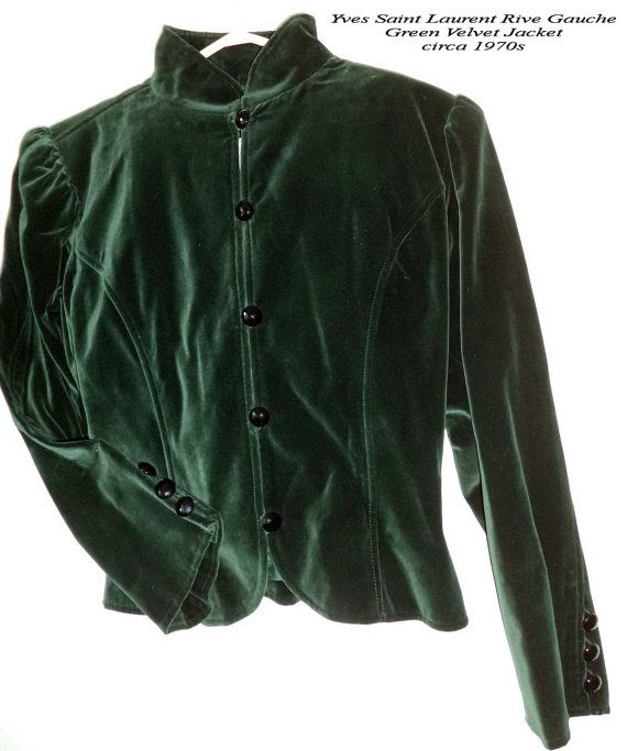 5d098049af64 YSL jacket Yves Saint Laurent Rive Gauche fitted vintage 70s Velvet Russian  Green size 42 S M Womens couture clothing S M designer blazer