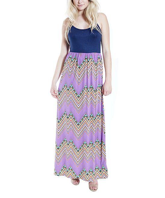 Navy & Purple Chevron Maxi Dress