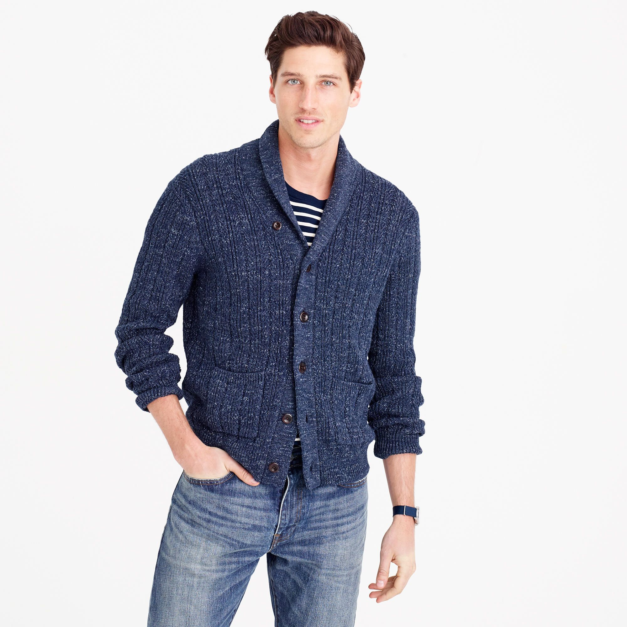 Cotton Mariner Shawl-Collar Cardigan Sweater : Men's Sweaters | J ...