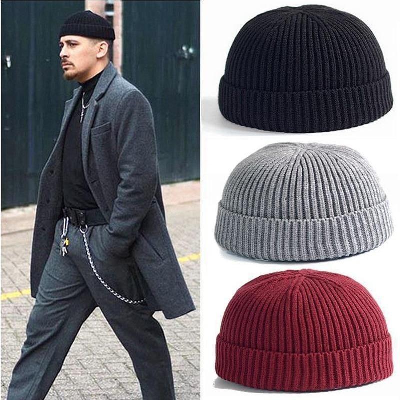 Bonnet Pêcheur En Tricot Pour Homme Brimless Hat Wool Hat Knit Sailor Cap