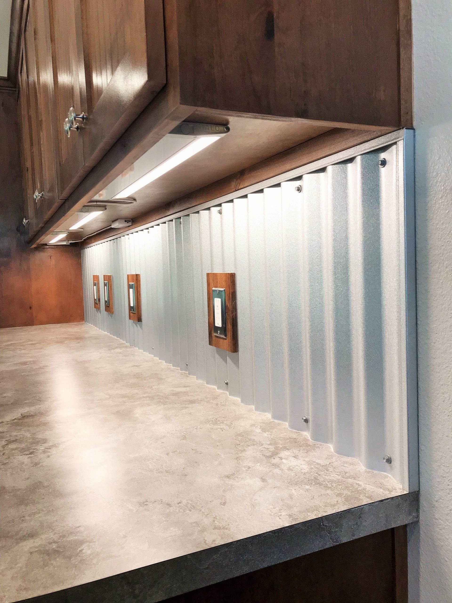 Corrugated Metal Backsplash Backsplash Corrugated Metal In 2020 Glass Backsplash Kitchen Metallic Backsplash Metal Backsplash Kitchen