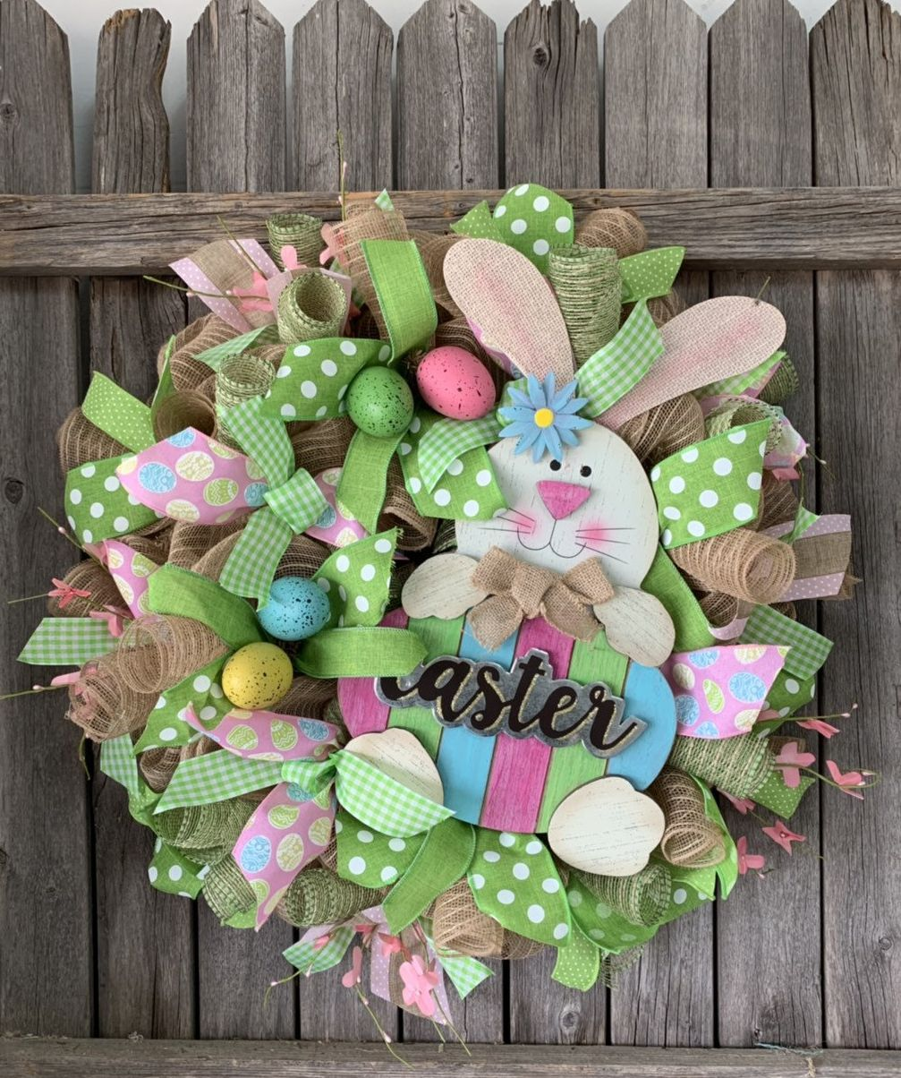 Photo of Easter Wreath – Happy Easter Bunny Wreath – Deco Mesh Spring Wreath – Bunny Wreath – Front Door Decor last one