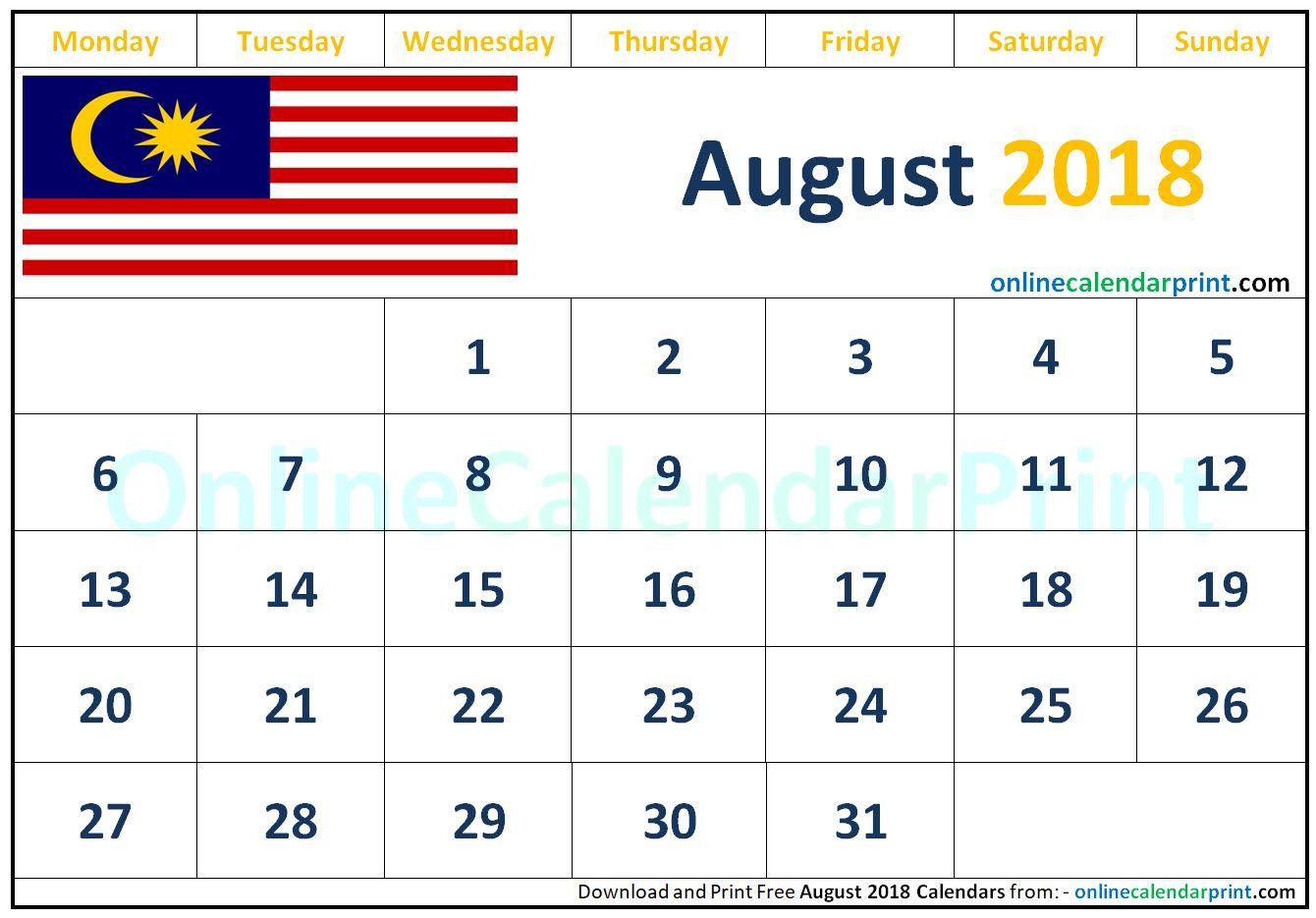 August 2018 Calendar Malaysia Calendar August Calendar 2018