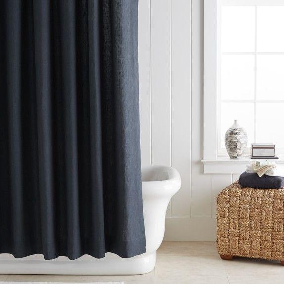 Signature Linen Shower Curtain Grey
