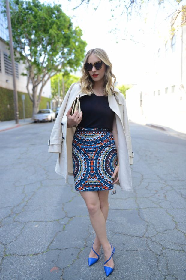 patterned pencil skirt. | Style | Pinterest