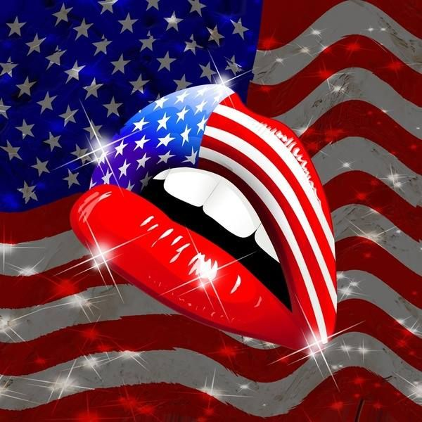 Fourth Of July Flag Lips Holiday Fourth Of July Usa Flag Lip