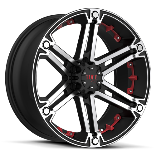 TUFF A.T. T01 Flat black with machined face and flange and red inserts. http://www.statuswheels.com/wheel.cfm?id=1607