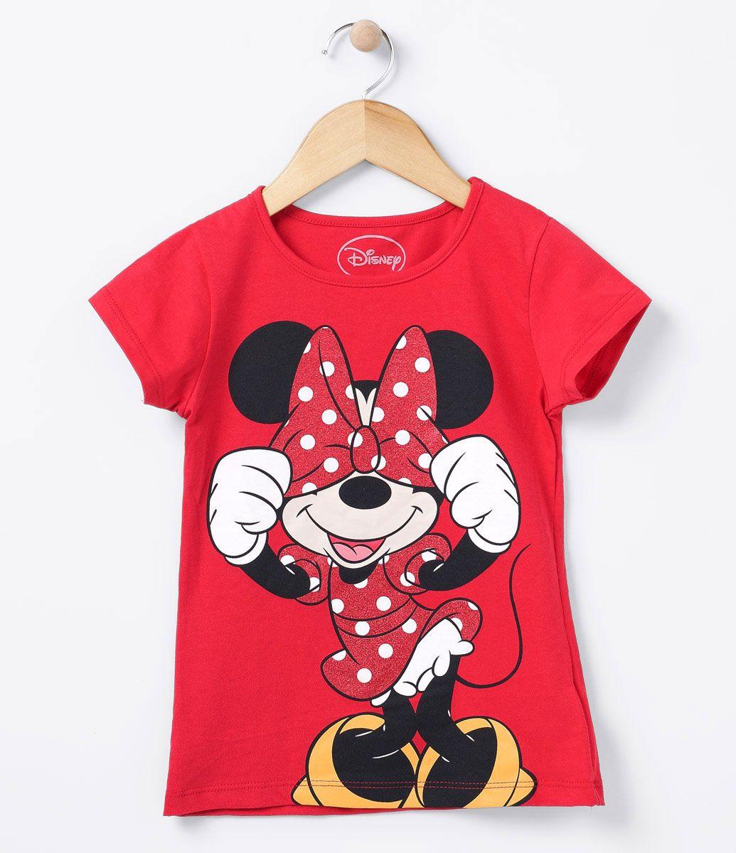 d56117a206733 Blusa infantil Manga curta Com estampa Marca  Minnie Tecido  Meia malha  Veja outras opções de produtos Minnie Mouse.